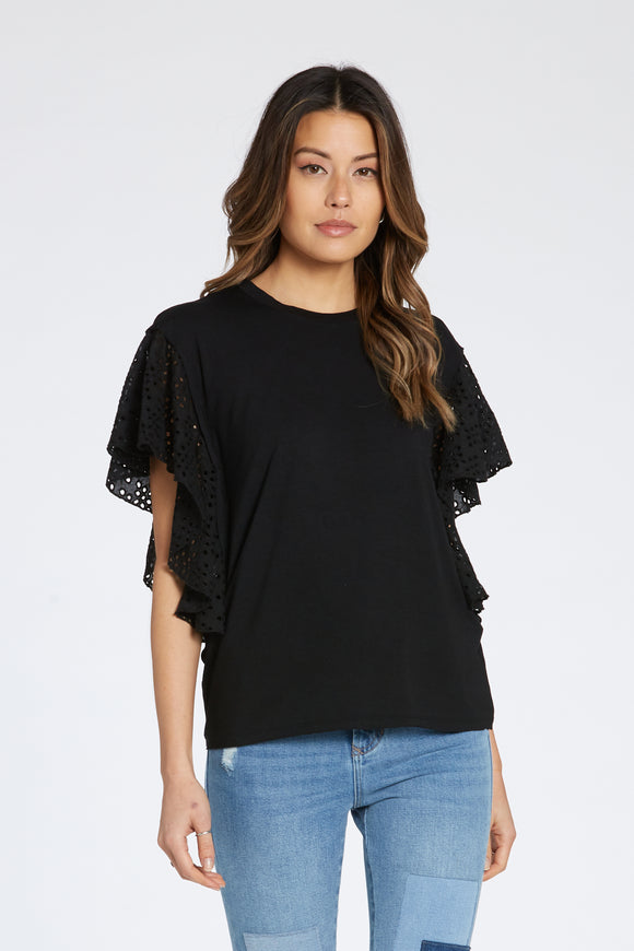 Quinlyn Flutter Sleeve Top