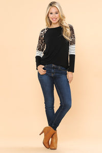 Solid Body Color Block Sleeve with Animal Print Detail