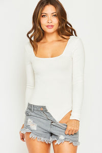 Square Neck Ribbed Knit Bodysuit-Off White