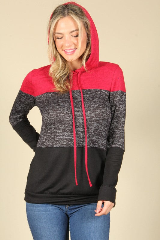 Color Block Pullover Hoodie-Red