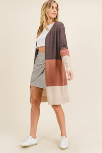 Brown Multi Color Block Long Sleeve Long Cardigan