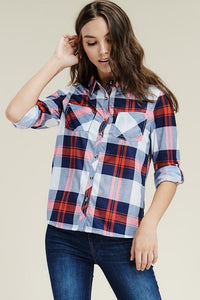 Red/Navy Button Up Plaid Top