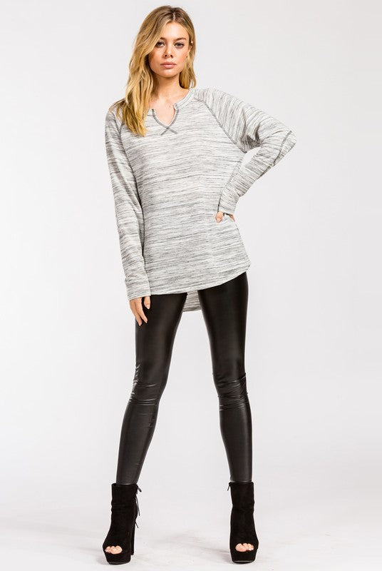 Long Sleeve Marbled Raglan Top