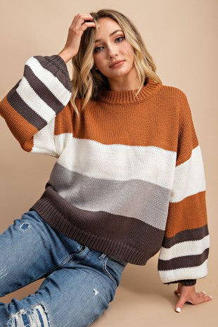 Camel Mock Neck Color Block Sweater
