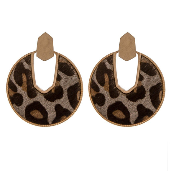 Cowhide Leopard Print Drop Disc Earrings
