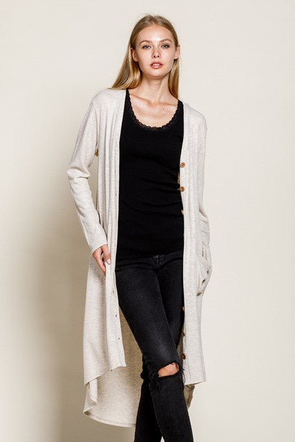 Thermal High Low Curved Hem Cardigan-Oatmeal