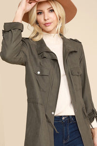 Olive Jacket with Rolled Sleeve