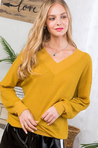 Double V-Neck Knit Top-Mustard