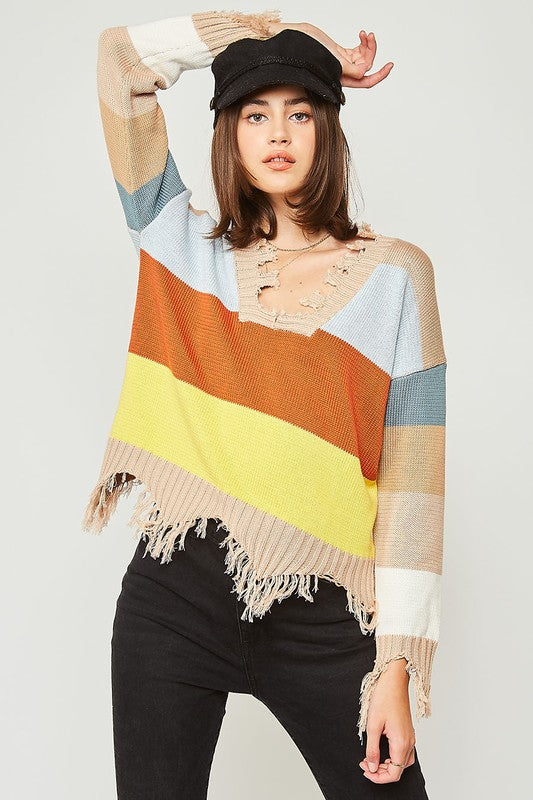 Color Block Frayed Sweater-Rust & Yellow