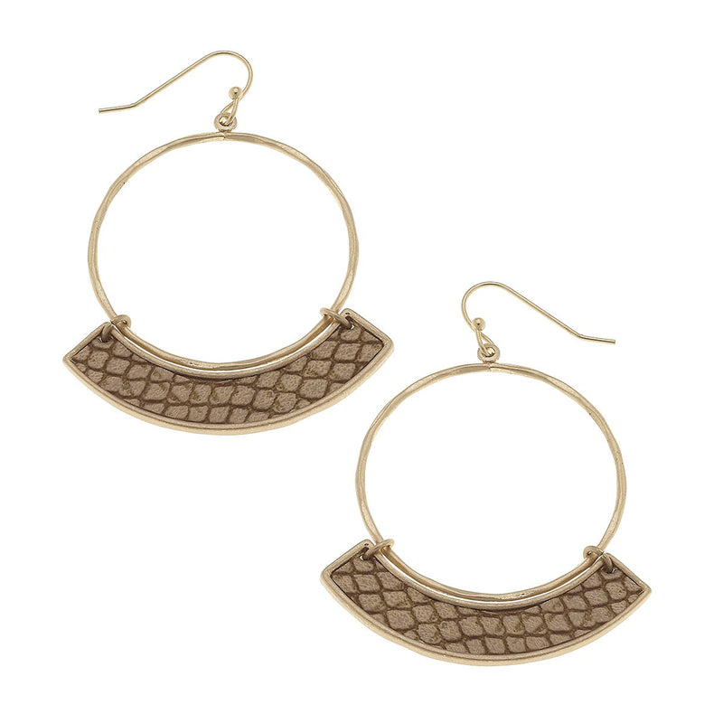 20028E-GD-BR Maeve Hoop Earrings in Camel Leather