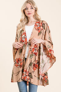 Taupe Floral Spaghetti Tie Front Long Sleeve Cardigan