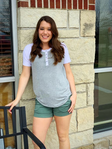 Heidi 3 Button Henley Short Sleeve Tee in Heather Grey/White