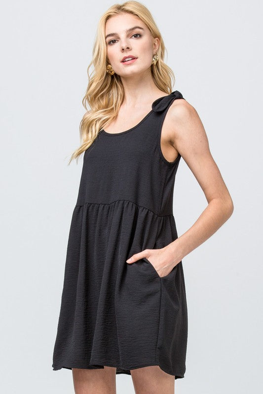 Black Scoop Neck Babydoll Dress