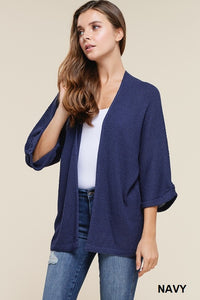 Lightweight Textured Kimono Sweater in Navy