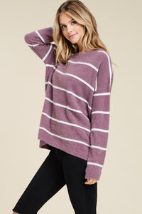 Dark Lavender Fuzzy Striped Sweater