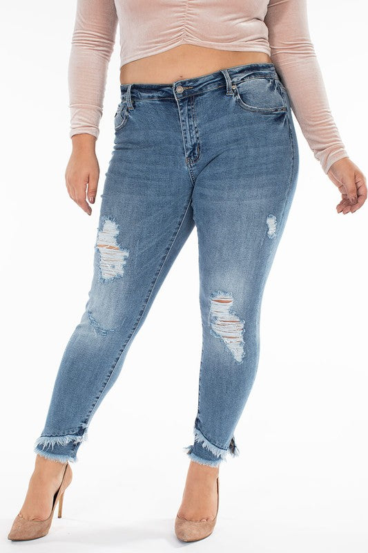 Curvy Gemma Mid Rise Ankle Skinny by KanCan