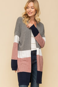 Multi Color Block Long Cardigan