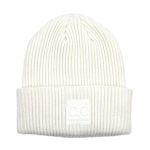 Solid Ribbed Knit CC Beanie