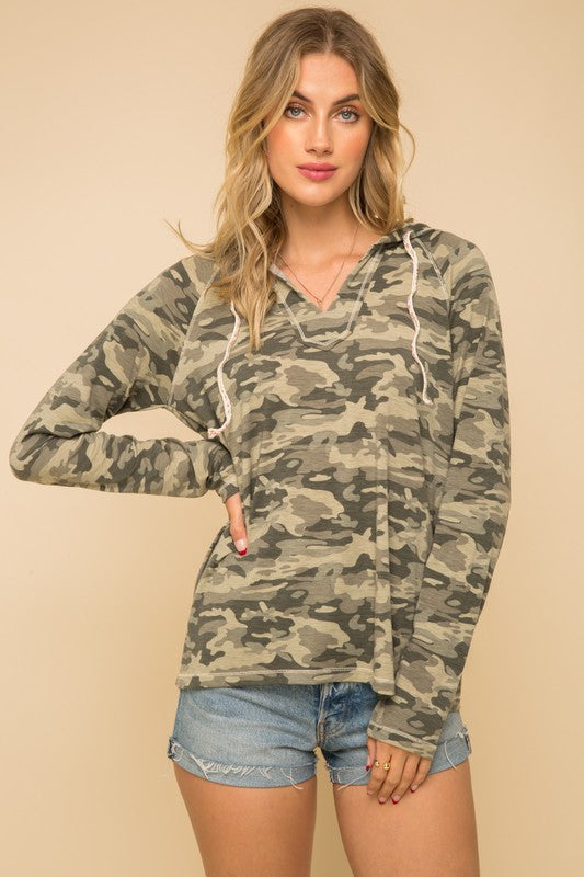 Camo Long Sleeve V-Neck High Low Hoodie