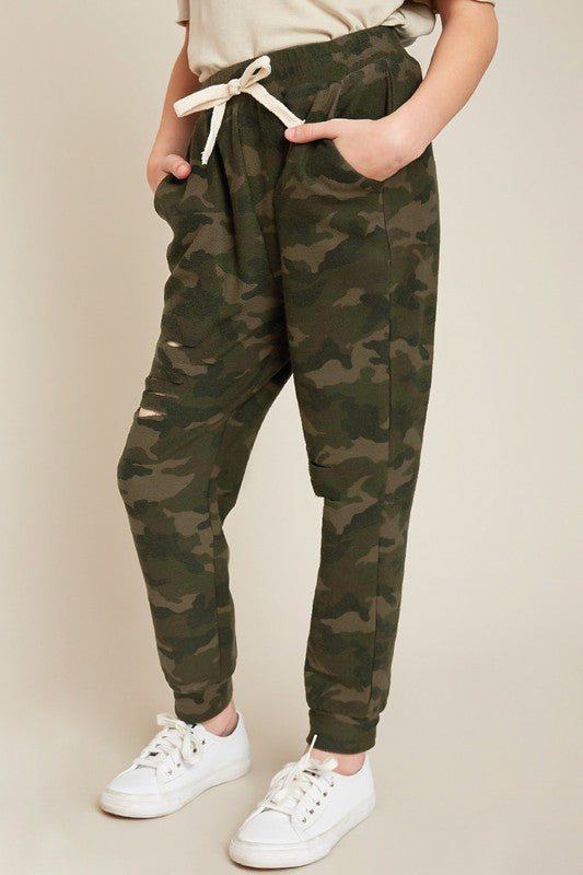 Devyn Kids' Camo Distressed Joggers