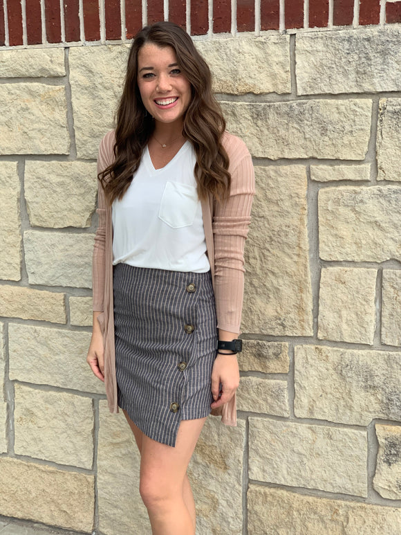 Deep Navy Neutral Stripe Button Down Mini Skirt