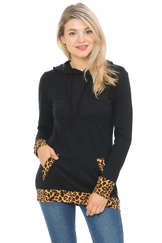 Black Hoodie with Animal Print Detail