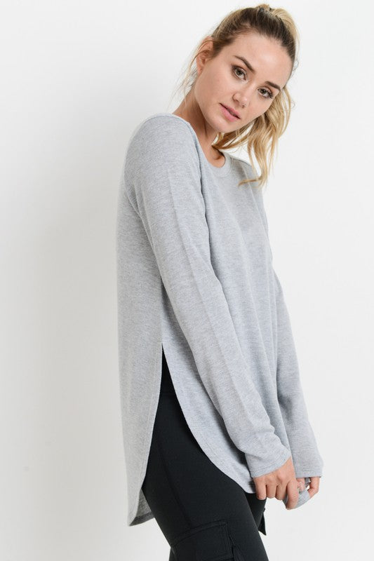 Flow Top with Side Slits-Heather Grey