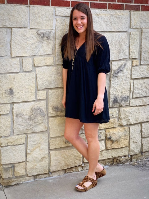 Black 3/4 Sleeve Ruffle Dress