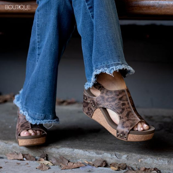 Carley Wedge Sandal in Distressed Leopard by Corkys