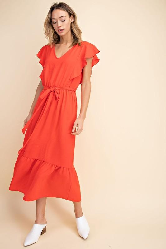 Red V-Neck Ruffle Sleeved Belted Ankle Length Woven Dress