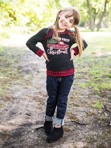 Youth Farm Fresh Christmas with Buffalo Plaid Trim
