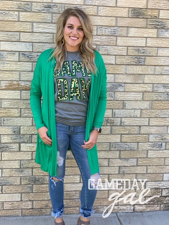 Game Day Solid Green Cardigan