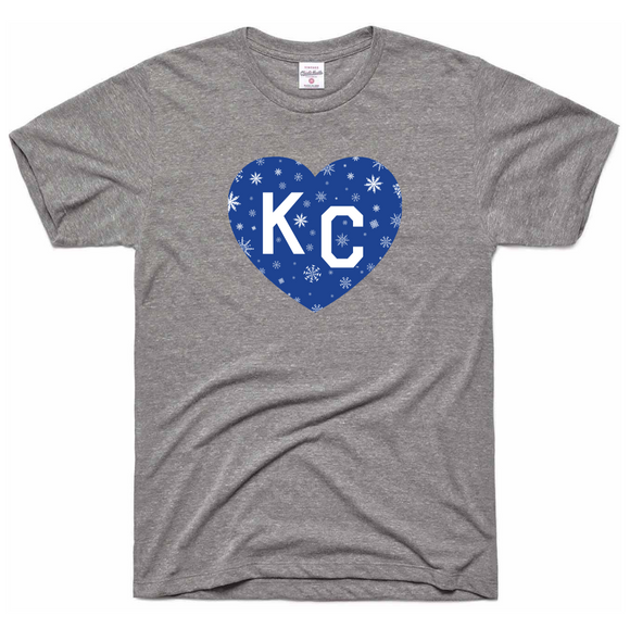 KC Blue Snowflake Heart Tee by Charlie Hustle