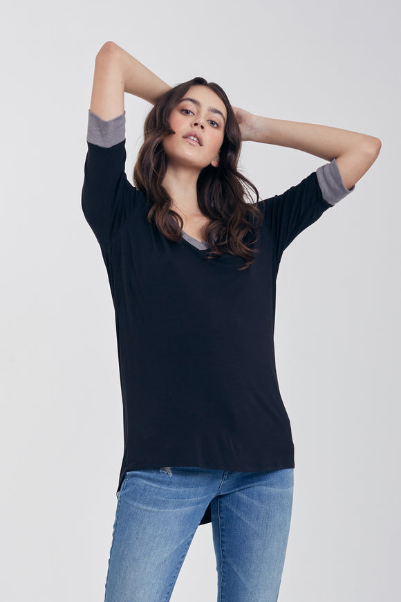 Kaydence Contrast Ribbed V-Neck Tee in Black/Heather Grey