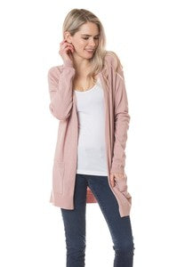 Mauve Long Sleeve Mid Length Cardigan with Side Slits
