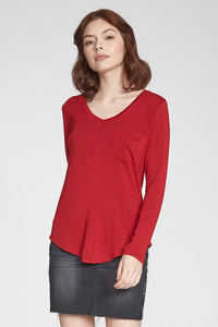 Molly V-Neck Long Sleeve Pocket Tee-Cherry