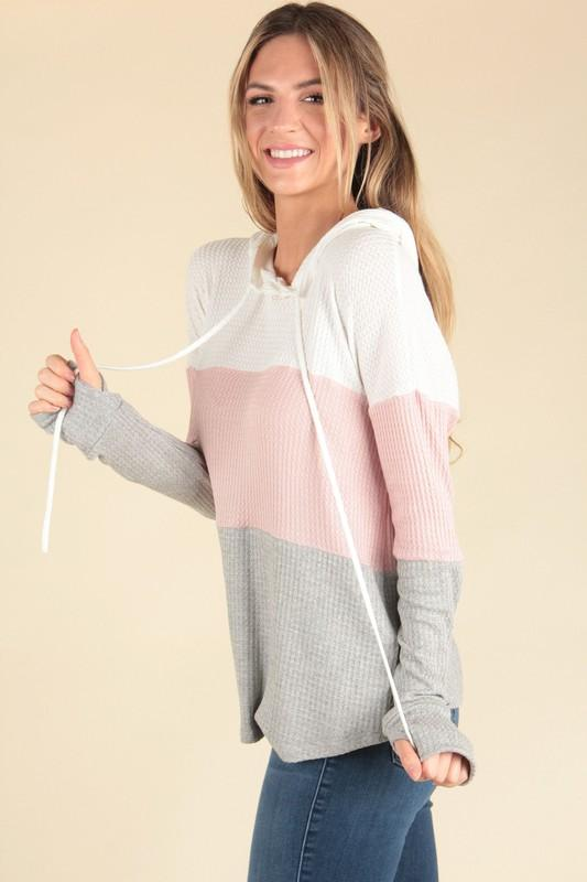 Pink/Grey Color Block Waffle Knit Hoodie