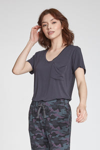 Phoenix V-Neck Pocket Tee-Charcoal