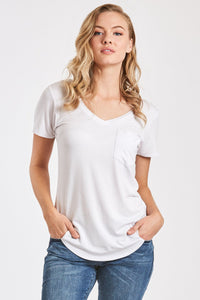Phoenix V-Neck Pocket Tee-White