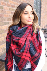 Navy, Red, & Grey Blanket Scarf