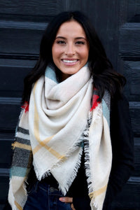 Cream, Red, & Mint Blanket Scarf