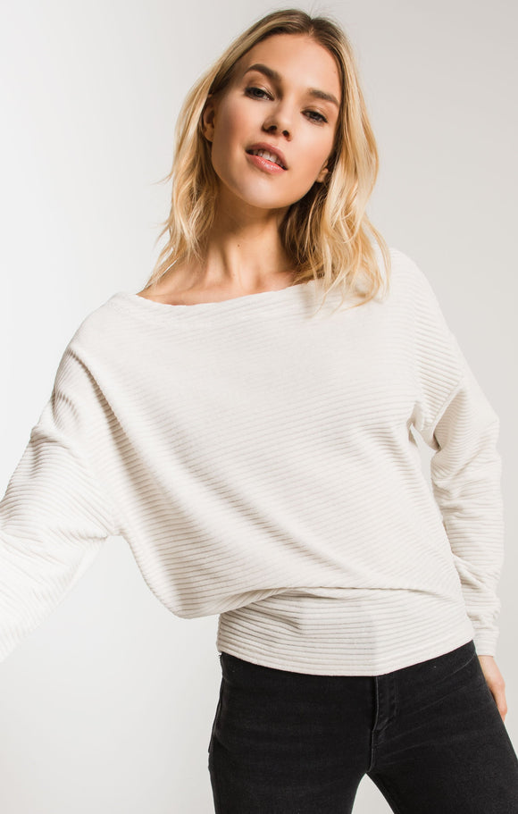 Knit Corduroy Boat Neck Top in Champagne Mist