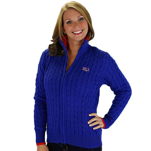 University of Kansas Zip Cable Cardigan