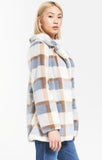 Carmen Plaid Coat in Glacier