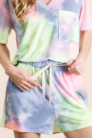 Tie Dye Jersey Knit Lounge Shorts