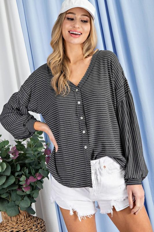Charcoal Striped Button Front Top