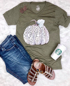 Wild Leopard Pumpkin V-Neck Graphic Tee