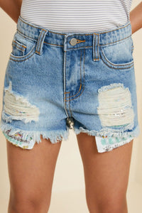 Darla Distressed Kids Shorts with Sequin Pockets