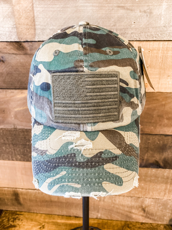Camo Distressed American Flag Embroidered Hat