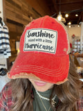 Sunshine With A Little Hurricane Distressed Trucker Hat